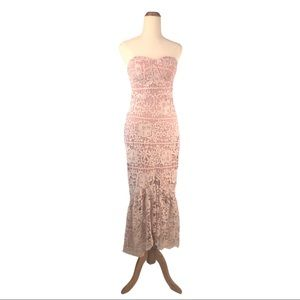 Strapless Peach pink lace mermaid / Prom Dress